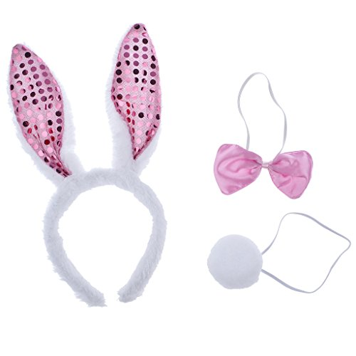 [Lux Accessories Halloween White n Pink Glitter Bunny Accessories Costume Set 3PC] (Zombie Bunny Halloween Costume)