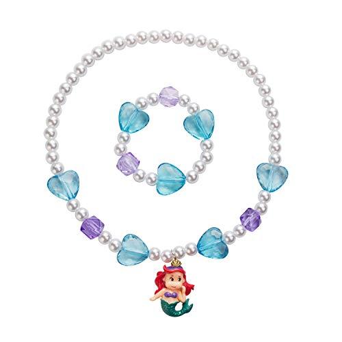 (Girl's Kids Mermaid Pendant Necklaces-Toddler Girls Heart Necklace Bracelet Sets-Little Girls Mermaid Necklace Jewelry Set)