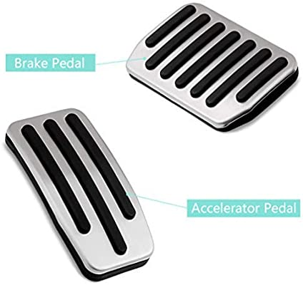 ROCCS Tesla Model 3 Foot Pedals Set Aluminum Non-Slip Accelerator Pedal Brake Pedals Cover Car Replacement No Drill Pad Gas Pedal for Tesla Model 3