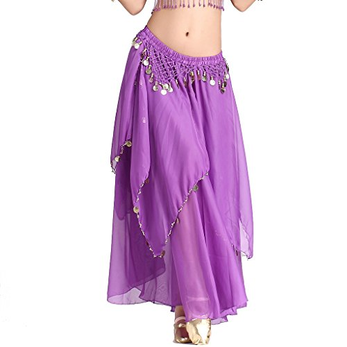 ZLTdream Women's Belly Dance Chiffon Skirt With Coins Purple, One -