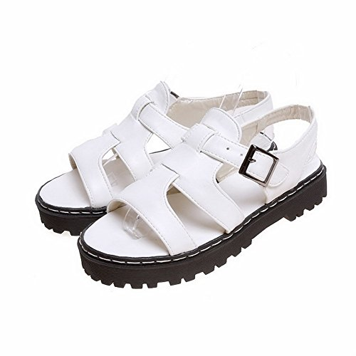 Allhqfashion Women's Low Heels Soft Material Solid Buckle Open Toe Sandals White FZDqQ5txI