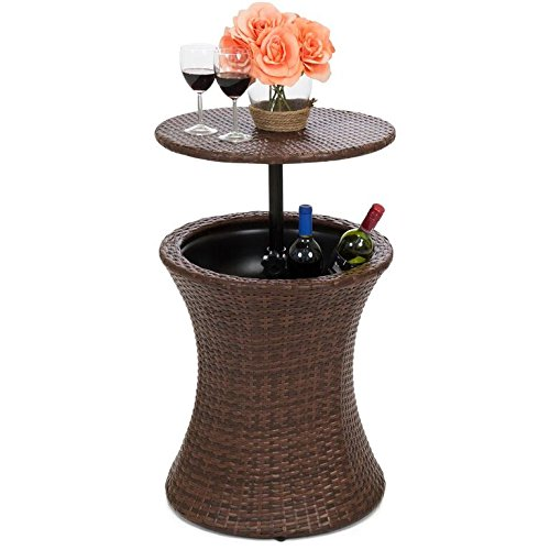 Best Choice Products 7.5 Gallon All-Weather Wicker Ice Bucket Hourglass Round Side Bar Table w/Height Adjustable Top