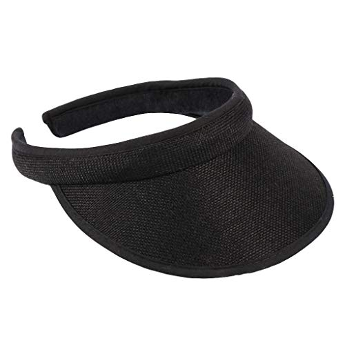 - MIS1950s 2019 Sun Visors for Women Unisex Long Peak Thicker Sweatband Adjustable Hat for Golf Cycling Fishing Tennis Running Jogging and Other Sports (Black)