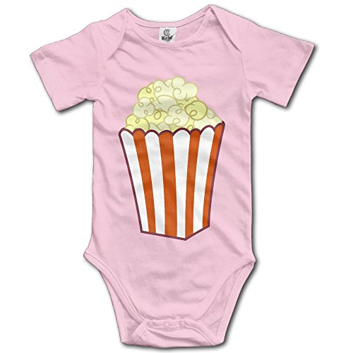 Unisex Baby's Climbing Clothes Set Popcorn Art Bodysuits Romper Short Sleeved Light Onesies for 0-24 Months for $<!--$14.85-->