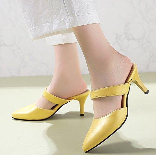 Easemax Chaussure Pointue Jaune Mules Sexy Talon Femme Cérémonie Moyen qrEwrC
