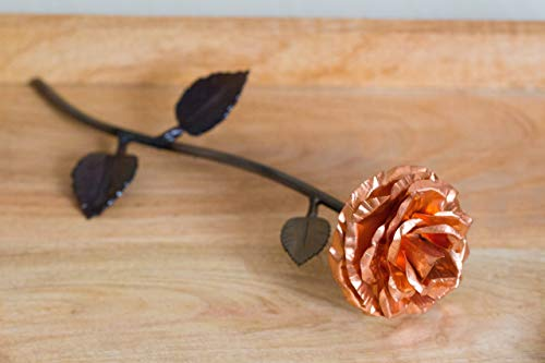 - Personalized Gift Hand-Forged Copper and Wrought Iron Metal Rose