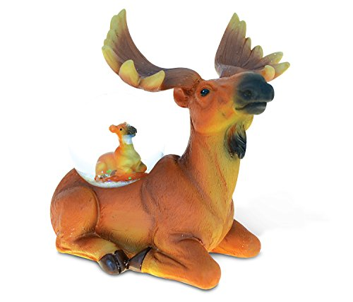 - Puzzled Resin Stone Moose Snow Globe (45mm), 4.4 Inch Tall Figurine Intricate & Meticulous Detailing Art Handcrafted Tabletop Accent Sculpture Centerpiece Mountain Wildlife Themed Home Décor