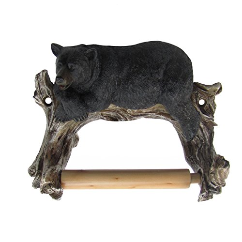 Wall Mount Lounging Black Bear TP Toilet Paper Tissue Roll Holder Bathroom Decor