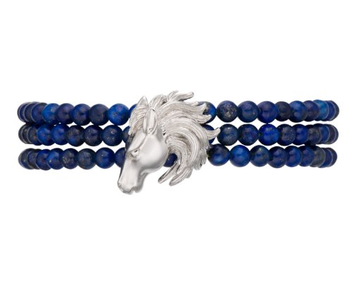 LIQUIDATION Genuine Lapis Beads Horse Head Bracelet Sterling Silver 7.5