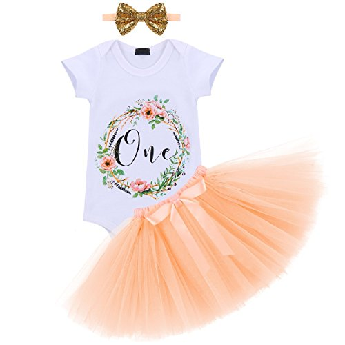 (Baby Girl It's My 1st Birthday 3Pcs Outfits Skirt Set Romper+Tutu Dress+Headband Cake Smash Crown Bodysuit #3 Apricot One)