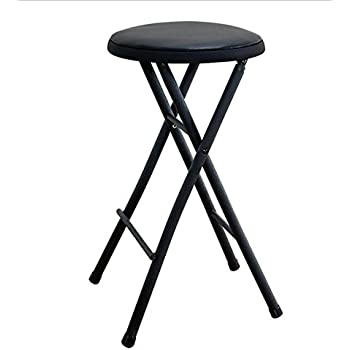 Amazon Com Black Folding Stool Chair 24 Quot Lightweight Home