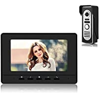 Video Doorbell Phone, YOKKAO Video Intercom Monitor 7 Door Phone Home Security Color TFT LCD HD Wired for House Office Apartment (Black)