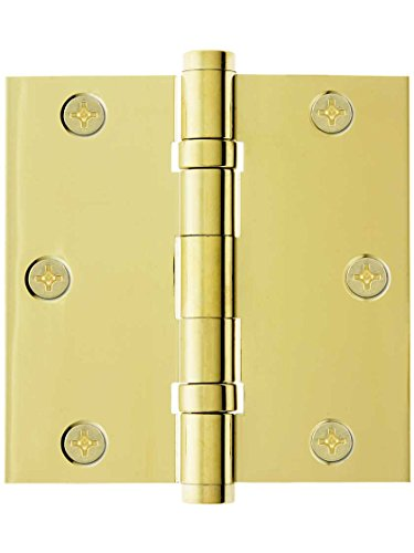 3 1/2 Solid Brass Ball Bearing Door Hinge With Button Tips In Pvd Pvd Brass Hinges