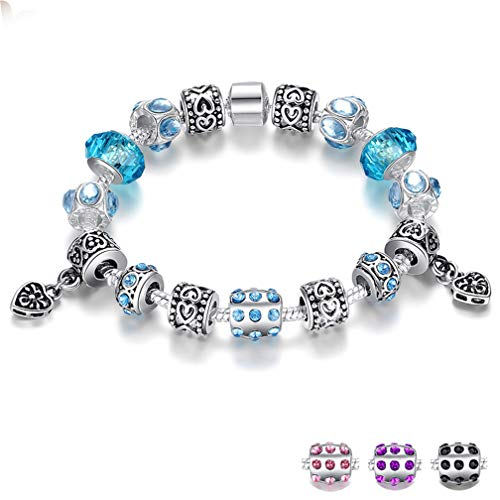 QIUHUAXIANG European Style Silver Crystal Charm Bracelet for Women with Blue Murano Glass Beads Jewelry PA1394 Purple 21CM