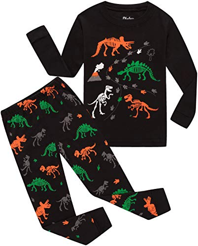 Dinosaur Black Shirt & Pants Pj Kids Cotton 2 Piece Children Sleepwear Clothes Size 10 ()