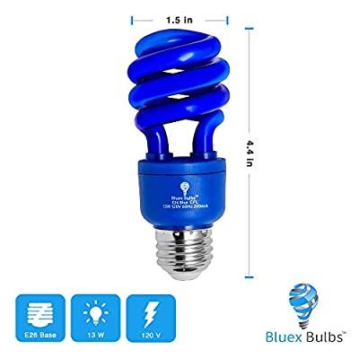 4 Pack BlueX CFL Blue Light Bulb 13W - 50-Watt Equivalent - E26 Spiral Replacement Bulbs - Blue Bulb Decorative Illumination - for Indoor or Outdoor - DJ, Colored Bulbs CFL, Party, Halloween Bulbs