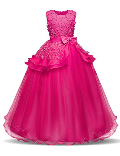NNJXD Girl Sleeveless Embroidery Princess Pageant Dresses Kids Prom Ball Gown Size (140) 8-9 Years Rose