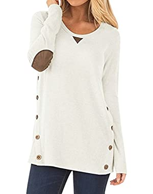 Womens Side Buttons Long Sleeve Casual Crew Neck Elbow Patched Sweatshirt Loose T Shirt Blouses Tops