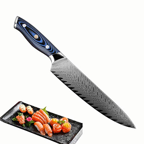 XITUO 8-inch Professional Damascus Chef's Knife Japanese AUS10 Steel Full Tang Sashimi Kitchen Knife With Ergonomic Handle, Stain & Corrosion Resistant, Best Gift For Kitchen Cooking