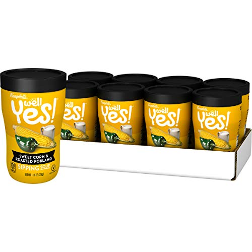 - Campbell's Well Yes! Sipping Soup, Sweet Corn & Roasted Poblano, 11.1 oz. Cup (Pack of 8)