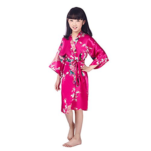 - Kids Children Girls Kimono Satin Silk Soft Peacock Bathrobe Robes Gown Bridal Lingerie Sleepwear (6, rose)