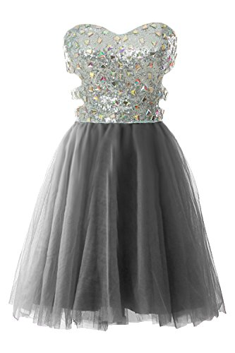MACloth Women Strapless Cutout Sequin Short Prom Evening Dress Formal Ball Gown Gris