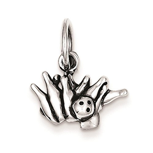 Sterling Silver Bowling Ball (925 Sterling Silver Bowling Ball and Pins Polished Charm Pendant 12mm x 16mm)