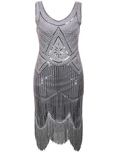 Vijiv Women's 1920s Gastby Inspired Sequined Embellished Fringed Flapper Dress Grey L (The Roaring 20s Fashion)