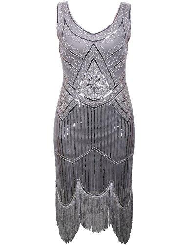 Vijiv Vintage 1920s Gastby Inspired Sequined Embellished Fringe Flapper (Wedding Dress Halloween Costume)