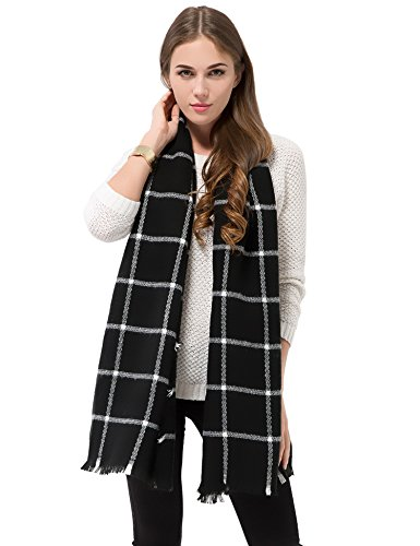Dimore Fashion Women Scarf Shawl Wraps Pashminas (Black and White)