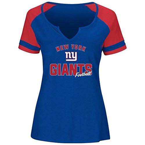 NFL New York Giants Women S/S NOTCH V NECK TEE, ROYAL/RED, 2X