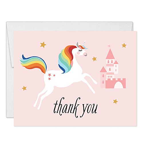 Magical Unicorn Thank You Cards with Envelopes (Pack of 25) Pink Castle Folded Blank Thank You Notecards Little Girl Daughter Child Kids Birthday Party Gift Thanks Gracias Excellent Value ()