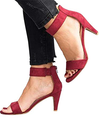 Festnight Women's Stiletto Open Toe Low Heel Zipper Closure Sandal Ankle Strap High Heels Sandals Working Bridal Party Shoes Wine Red
