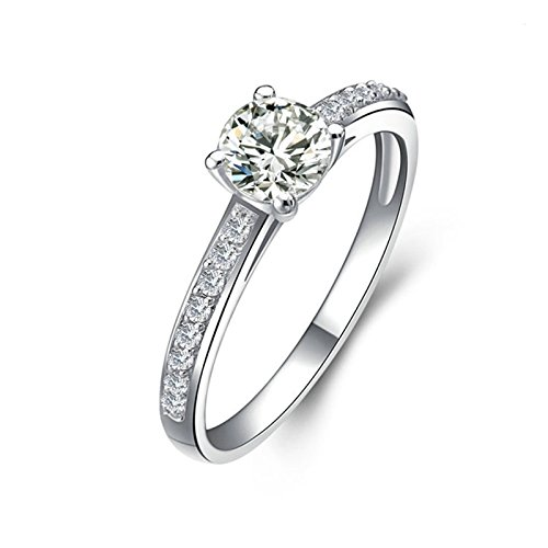 Adisaer Free Engraving Silver Plated Mothers Ring Engraved Best Present Round with White Cubic Zirconia CZ Inlaid Size 10.5