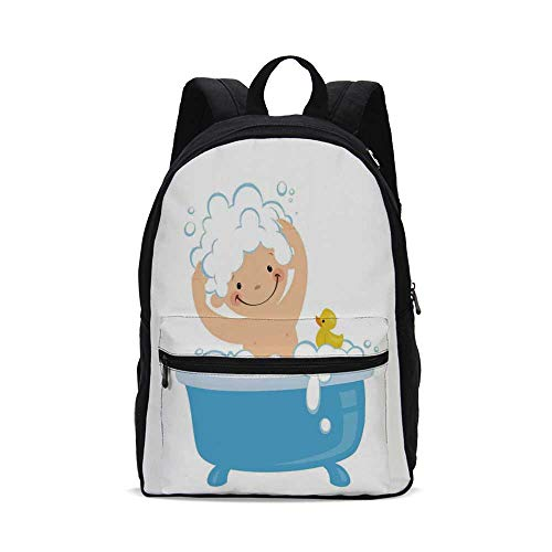 Nursery Fashion Canvas printed Backpack,Baby Boy with Smiley Face Having Bubble Bath with Rubber Duck Kids Theme Art for school,One_Size