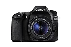 Canon Eos 80d Digital Slr Kit With Ef-s 18-55mm F3.5-5.6 Image Stabilization Stm Lens (Black) (International Model) No Warranty