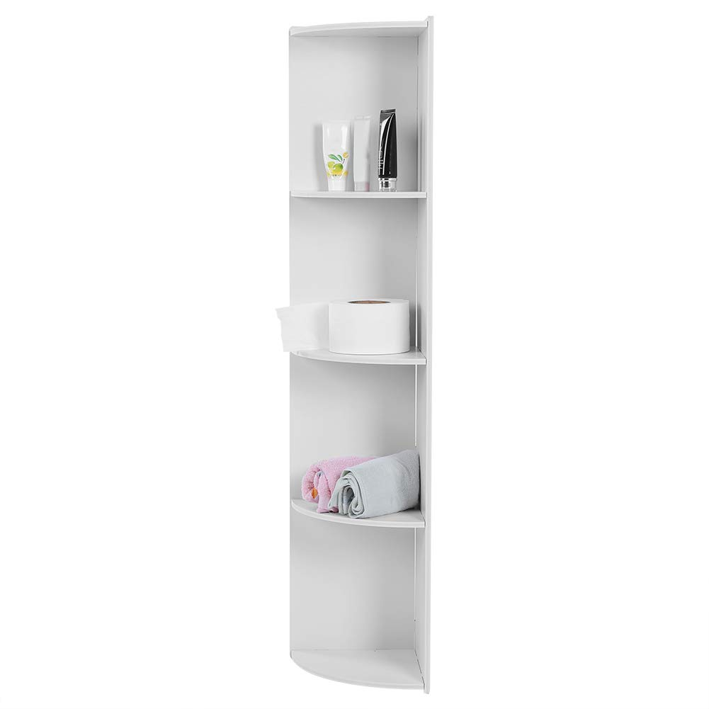 Narrow Bathroom Storage 4 Tier Wooden Standing Corner Cabinet Tall Cupboard Bathroom Bedroom Tallboy Storage Rack Organiser White 120 X 28 3 X 24 Cm Corner Shelf Unit Home Garden Store Racks Shelves Drawers
