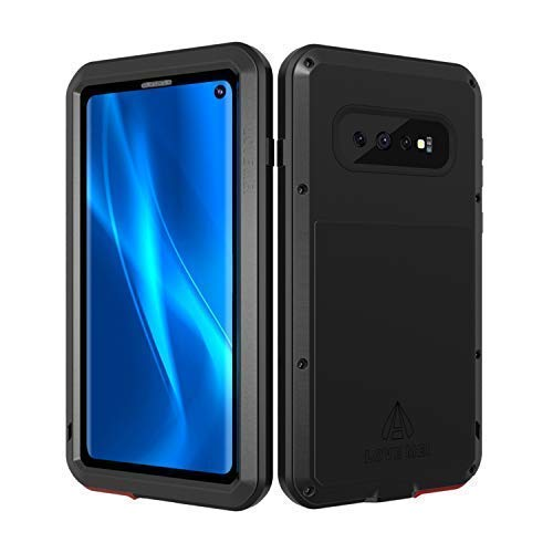 - LOVE MEI Samsung Galaxy S10 Case with Built-in Glass Screen Protector, Full-Body Wireless Charging Sturdy Cover Shockproof Dustproof Metal and Silicone Heavy Duty Case for Samsung Galaxy S10 (Black)