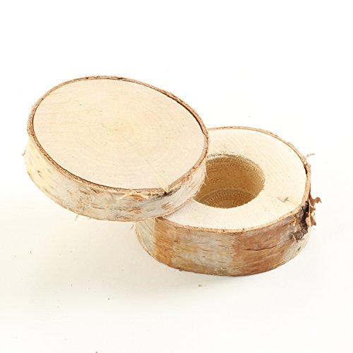 Koyal Wholesale Real Wood Wedding Ring Box, Real Wood Wedding Ring Bearer, Engraveable Engagement Ring Box (Birch)