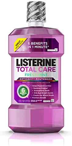 Listerine Total Care Anticavity Mouthwash, 6 Benefit Fluoride Mouthwash for Bad Breath and Enamel Strength, Fresh Mint Flavor, 1 L(Packaging may vary)