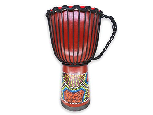 Littlefun Percussion Hand-Painting Mahogany Djembe Drum with Goat Skin Head (10