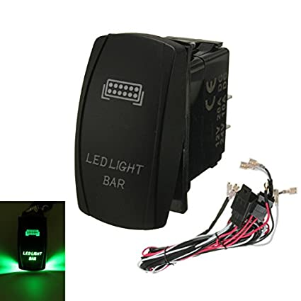 marine parts green led light bar on off laser rocker switch relay rh amazon com LED Switch Wiring PC LED Dimmer Switch Wiring