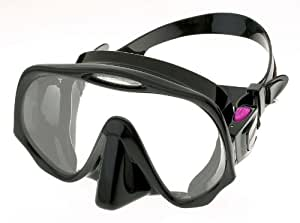 Atomic Aquatics Frameless Mask, Black Skirt ~ Dive Pink & Fight Breast Cancer, $10 Donation - Pink - Medium