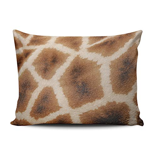 - Fanaing Bedroom Custom Decor Reticulated Giraffe Pattern Wild Animal Print Gift Pillowcase Soft Zippered Brown Throw Pillow Cover Cushion Case Fashion Design One-Side Printed Boudoir 12x16 Inches