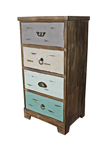 fedb17dc95f57 elbmoebel Brown Colourful Multi-Coloured Wooden Chest of Drawers Cupboard  in Country House Style Antique Shabby Chic Vintage (H82 x W41 x D32 cm)
