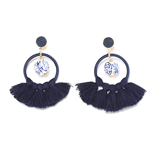 LILIE&WHITE China Blue Tassel Earrings Drop Dangle Earrings For Women with Ceramic Beads Fashion Jewelry