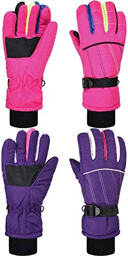 2 Pairs Kids Mittens Children Winter Snow Waterproof Thick Warm Windproof Gloves for 5-10 Years Old Girls Boys
