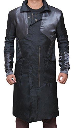 Adam Jensen Costume Human Revolution Game Black Long Trench Outwear Coat (Adam Jensen Costume)