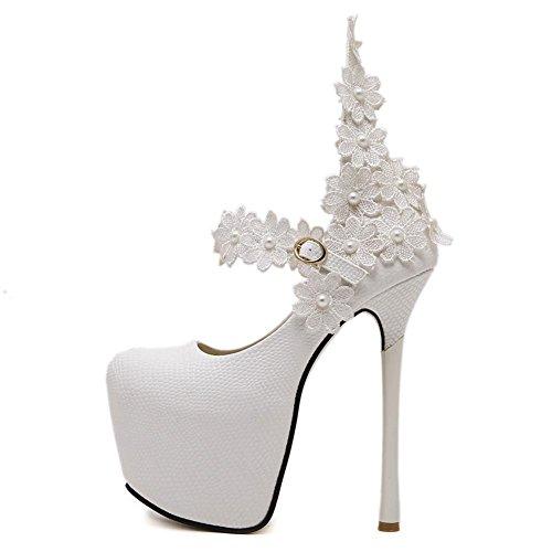 L@YC Frauen High Heels Hass Tage hohe Seide Blumen Schnalle flachen Mund Tanz Schuhe White
