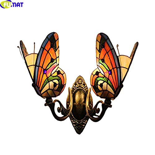 Tiffany Wall Lamp Butterfly Color Glass Mirror Front Lights Bedroom Beside Lamp 2 Lights